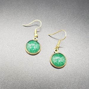 Green Elegant Circle Christmas Gold Earrings